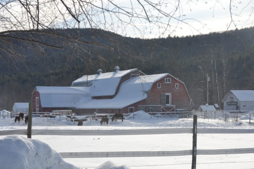 large red barn aft snow