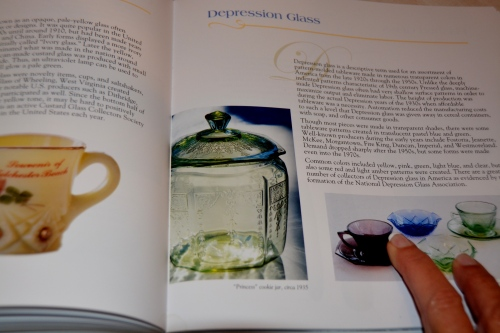 depression glass page in book